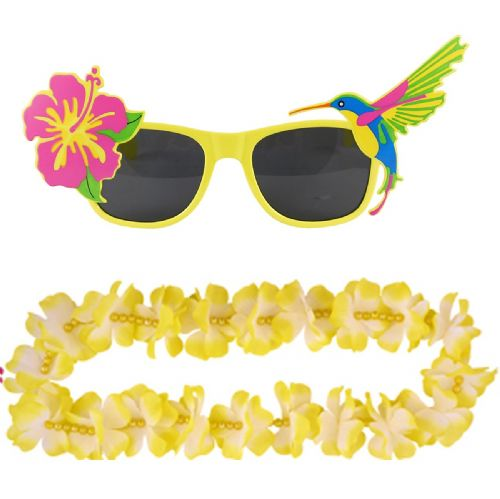 Adult Yellow Hawaiian Lei & Glasses Fancy Dress Set for Mens & Ladies Summer Costume